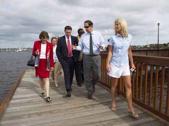 Incoming Florida Senate President Joe Negron (second