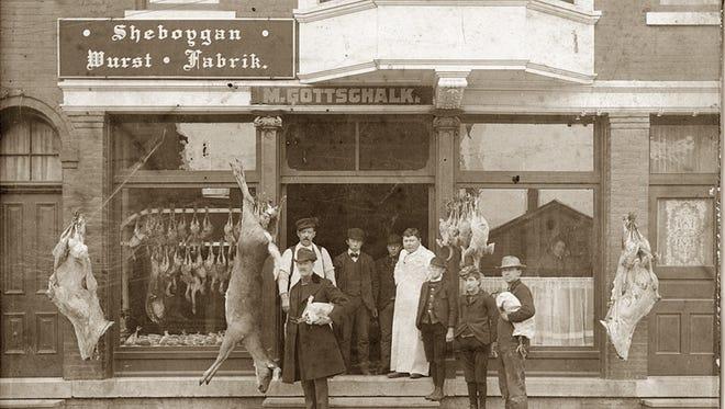 "A sign on Gottschalk's Meat Market on Michigan Avenue read ""Sheboygan Wurst Fabrik,"" which translates to Sheboygan Sausage Factory.  Gottschalk supplied the first bratwurst, a delicacy that had to be eaten immediately."