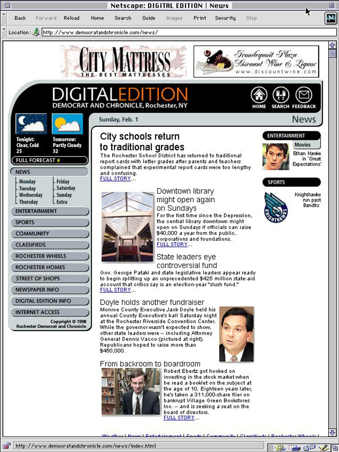 The homepage of the Democrat and Chronicle's Digital
