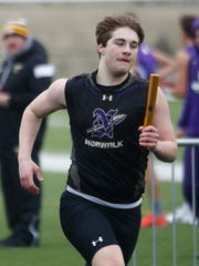 Norwalk's Jon Eggers competes in the 4x800-meter relay.