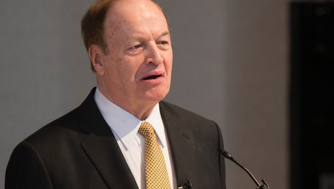 U.S. Sen. Richard Shelby speaks to the Montgomery Area Chamber of Commerce on Wednesday, Jan. 6, 2015, in Montgomery, Ala.