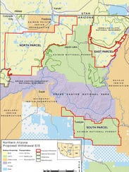About 1 million acres, divided between three areas