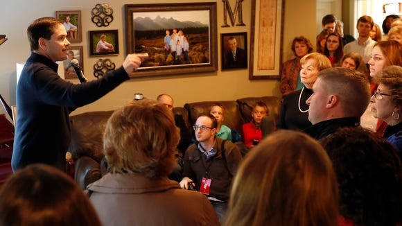 Republican presidential candidate Sen. Marco Rubio, R-Fla. speaks during a house party, Thursday in Bedford, N.H.
