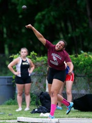 Valhalla's Samantha Morillo competes in the shot put