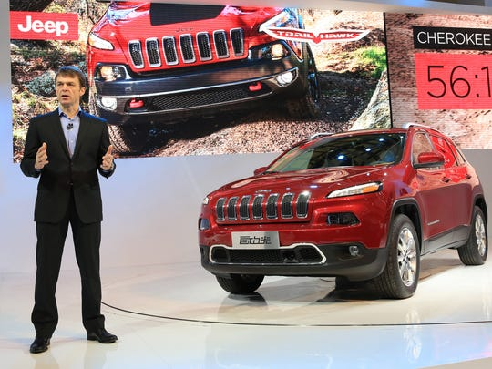 Mike Manley, President and CEO of Jeep Brand and Ram Brands for Fiat Chrysler Automobiles introduces the all-new Jeep Cherokee at the 2013 Shanghai Auto Show.