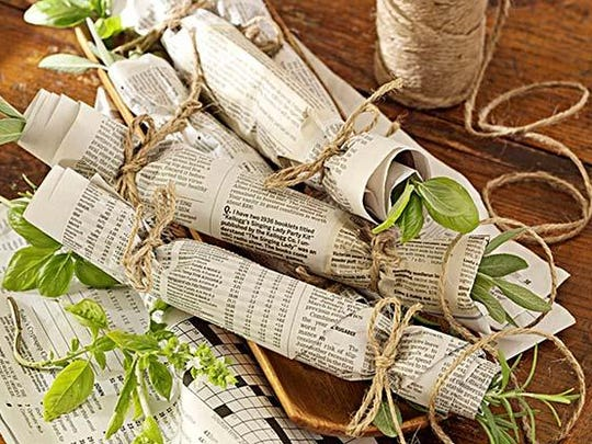 Want to make a fragrant fire starter? Wrap herbs (sage, basil and rosemary work well) in a sheet of newspaper and secure the ends with raffia or cotton twine. When you light your fire, the burning herbs will send a lovely aroma through the air.
