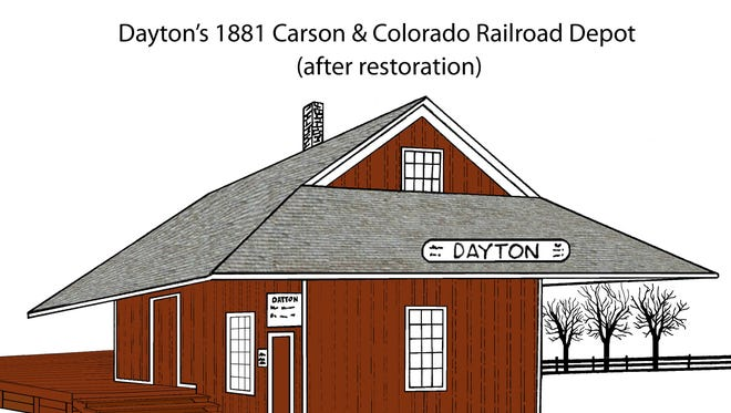 Restorers hope to remake the Dayton Carson & Colorado Railroad Depot to its 1880s appearance, as shown in this sketch.