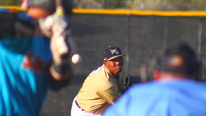 White Sands pitcher Jordan Cummings throws a ball Monday evening at the Griggs Sports Complex.