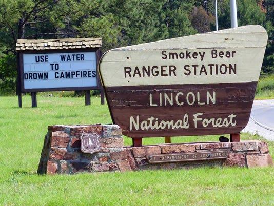 Smokey Bear Ranger District sign