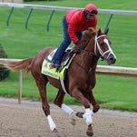 Derby candidate Madedromlucky gallops on the Churchill Dlowns track Wednesday morning. 4/22/15