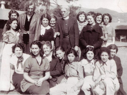 A portion of the hundreds of camp enrollees that began arriving in Lincoln County to participate in Camp Capitan. Chavez' mother, Ramoncita Gurule is shown bottom left, wearing a dark blouse with white collar. Some of the camp staff are pictured with the girls.