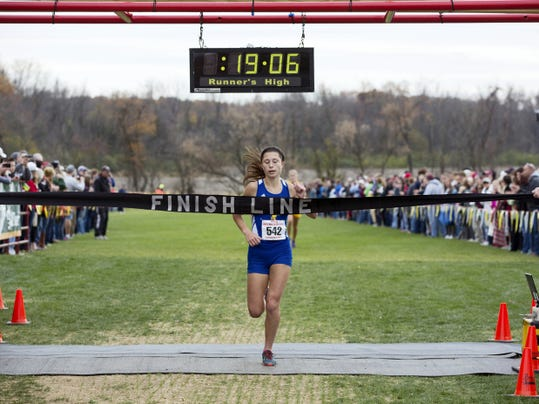 Kennard-Dale's Maddie Ferner earned district gold Saturday, clocking a 19:07 to win the Class AA girls' cross country championships at Big Spring High School. Ferner, who also won the YAIAA title, will get a chance at more postseason hardware at the PIAA meet.