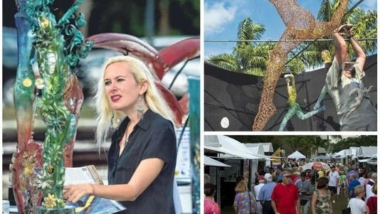 Left: Ashley Scott looks at glass sculptures by Tampa artist Susan Gott at the Bonita Springs National Art Festival on Saturday. San Francisco artist Michael Gard sets up his woven wired sculptures at the festival. , top right. Visitors stroll at the 15th Bonita Springs National Art Festival on Saturday at Riverside Park, bottom right.