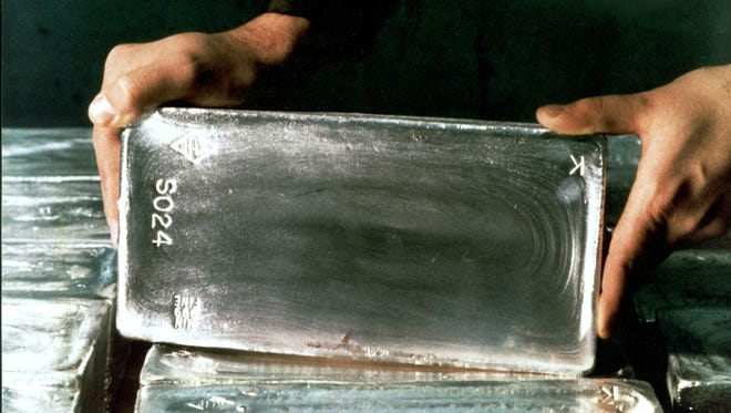 Silver ingot produced in the Kennecott Utah Copper Refinery as a by-product of copper ore from the Bingham Canyon Mine.