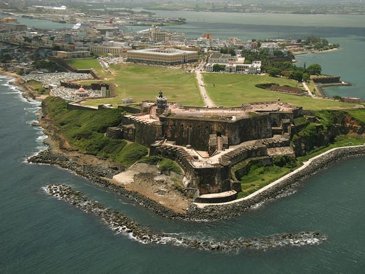 Puerto Rico's San Juan, as seen in this aerial photo, mixes historic and modern architecture.