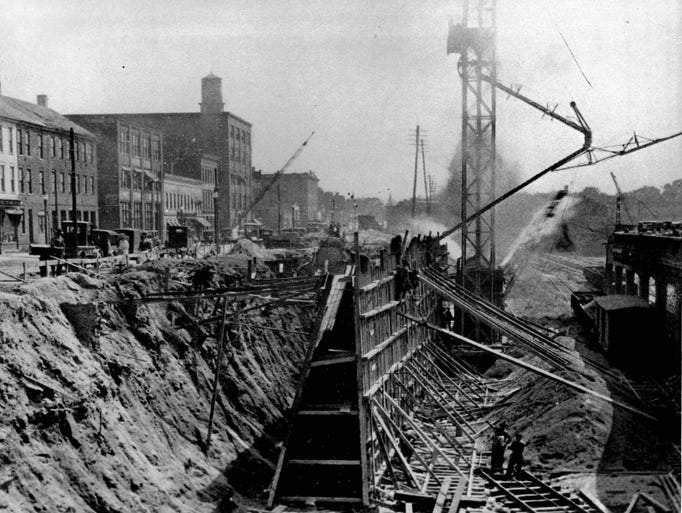 Construction of the Rochester Subway circa 1922. (Staff