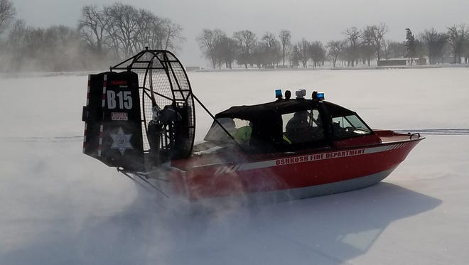 The Oshkosh Fire Department conducts ice rescue training Jan. 31, 2017, on Lake Winnebago.