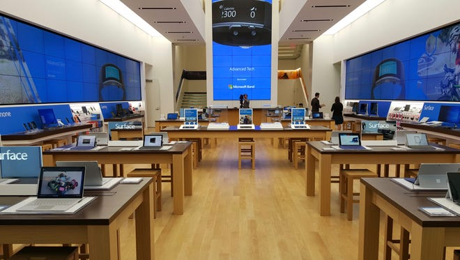 The view when you first walk into Microsoft's Fifth Avenue store in New York.