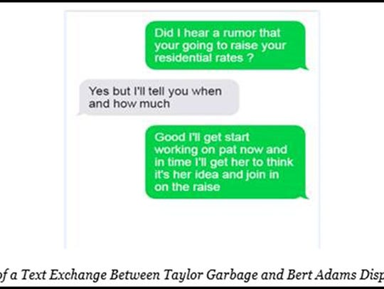 Illustration of a text exchange between Taylor Garbage