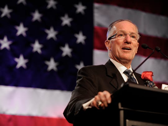 Dr. Mike Emrick speaks after being inducted into the U.S. Hockey Hall of Fame Dec. 12, 2011.