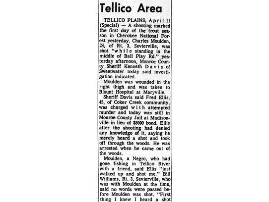 The Sept. 11, 1968, edition of the old Monroe County Democrat reports about the acquittal of Fred Ellis in connection with the shooting of Charles Moulden. It is the only known newspaper story that reported the outcome of the trial.