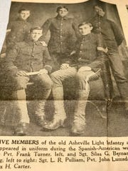 This photo shows five members of the Asheville Light Infantry company formed in Asheville for the Spanish-American War of 1898.