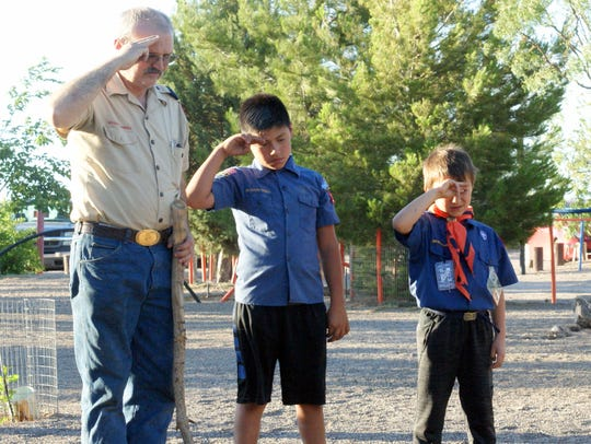 Scout Master Randy Jones and two Deming Cub Scouts