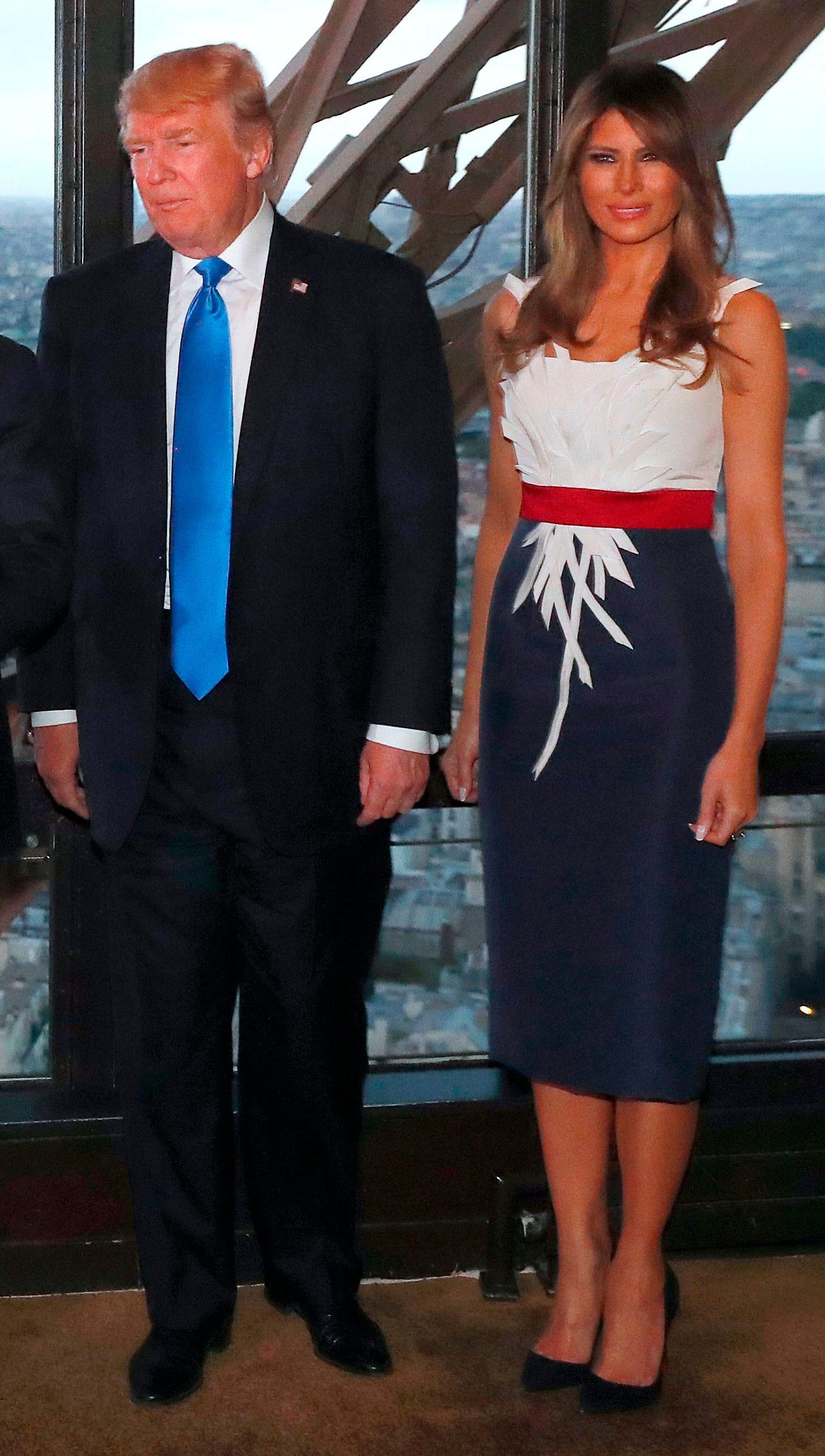 Melania Trump continues fashion tour de force at Eiffel Tower dinner