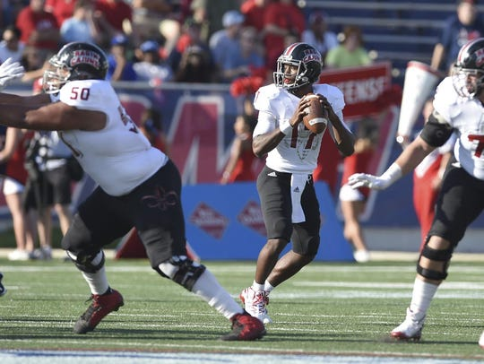 UL freshman quarterback Levi Lewis, who had redshirt removed Saturday, throws in the Cajuns 19-14 win at South Alabama.