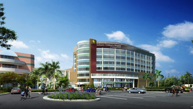 Artist's rendering of the new Golisano Children's Hospital of Southwest Florida, which is nearing the end of its construction.