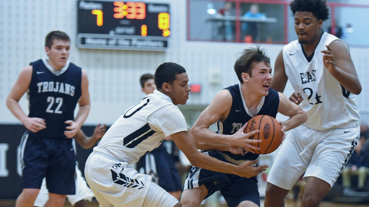 Chambersburg's Cade Whitfield (22) is fouled by Jordan