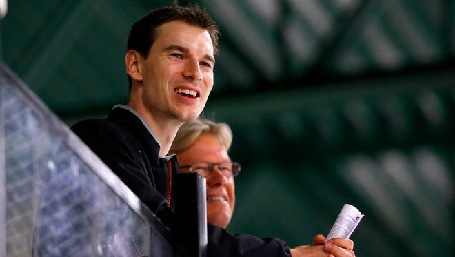 Arizona Coyotes assistant general manager John Chayka looks on during their 2015 development Camp Wednesday, July 8, 2015 in Scottsdale, Ariz.