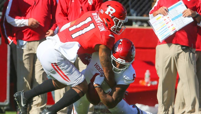 Rutgers defensive back Isaiah Wharton (11) is called for pass interference against Indiana running back Camion Patrick (6) during the first half at High Point  Solutions Stadium Saturday