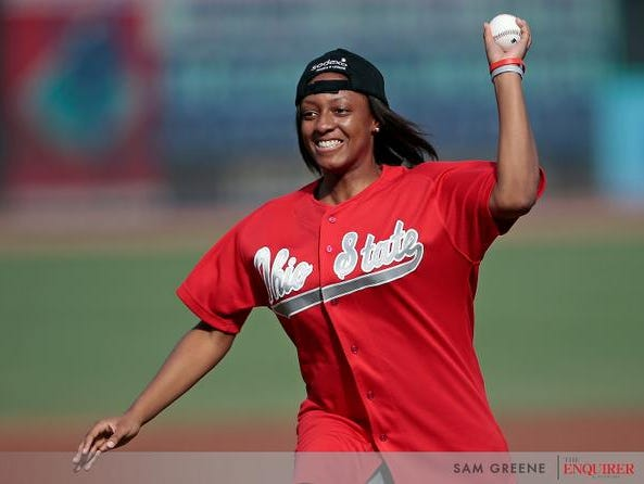 Ohio State standout Kelsey Mitchell threw out the first pitch tonight at GABP.