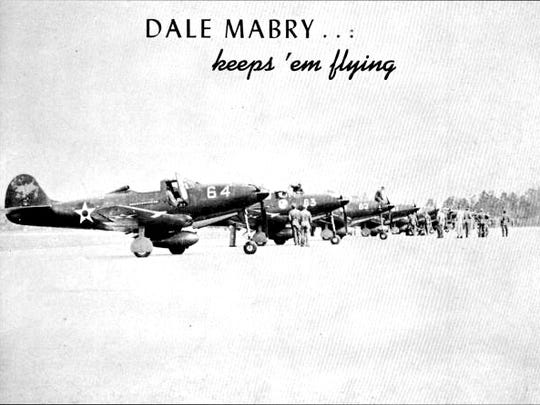 Military pilots lined up at Dale Mabry Field in 1943.
