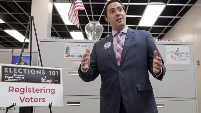 Ohio Secretary of State Frank LaRose speaks about the importance of National Voter Registration Day during an educational session at the Franklin County Board of Elections on Morse Road in September 2019.