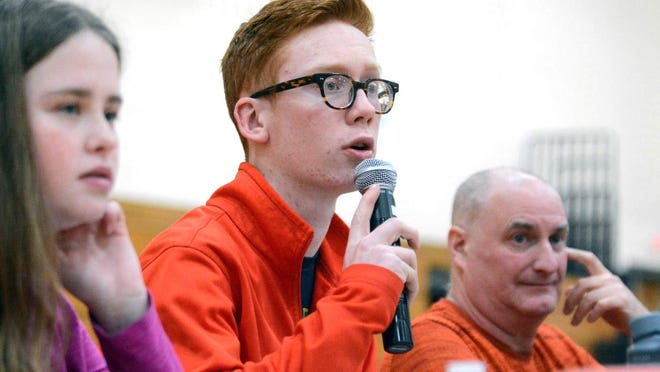 Jacob Irons has been the voice of Plainfield athletics for four years now. He is shown here doing the public address announcing at a Panthers' girls basketball game last season.