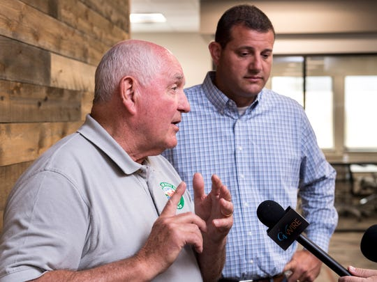 U.S. Secretary of Agriculture Sonny Perdue, left, and former Representative David Valadao speak to the media Tuesday, August 14, 2018 after a round-table discussion with local ag representatives and brief tour of HMC Farms in Kingsburg. It was one of five planned stops for Perdue during a two-day pass through California.