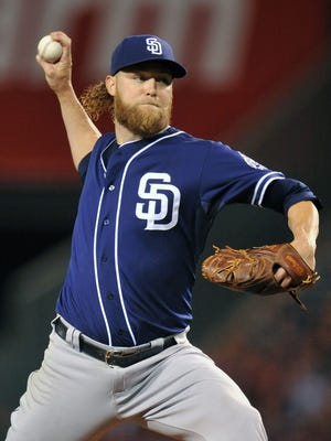 Padres starting pitcher Andrew Cashner pitches in the fifth inning.