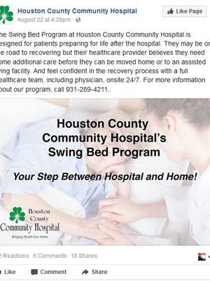 Houston County Community Hospital's Facebook ad about the facility's 'swing bed' service.