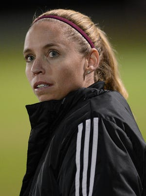 Viera girls soccer coach Courtney Lundy watches the action during a regional quarterfinal game.