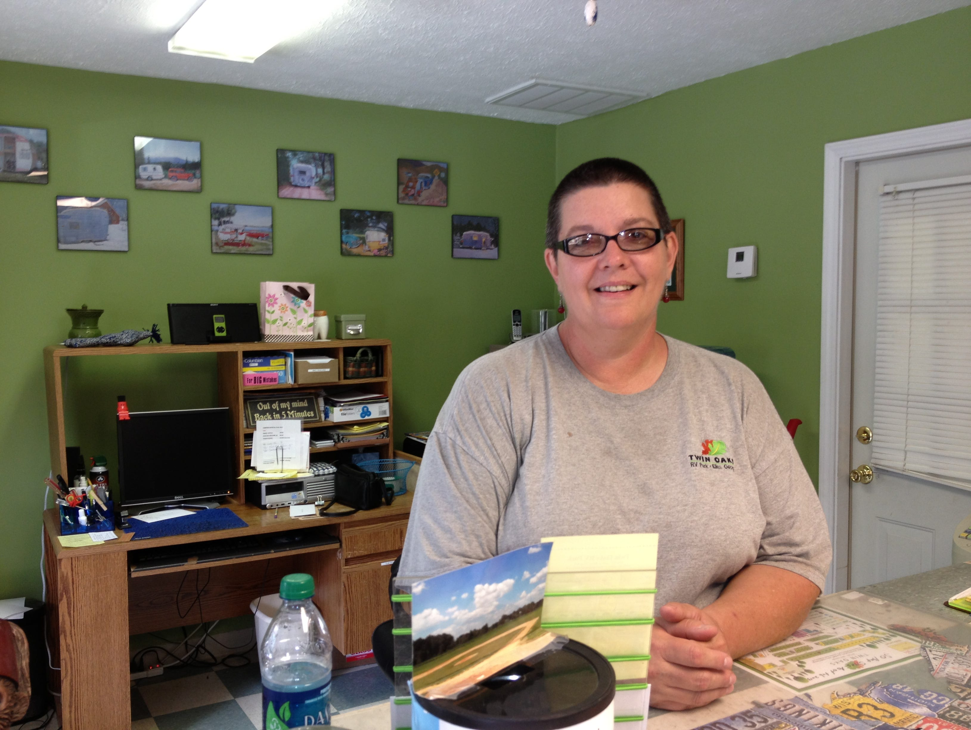 Lisa Gannaway, co-manager of Twin Oaks, welcomes guests to Twin Oaks RV camp in Elko, Ga.