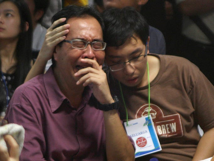 Relatives of passengers on the missing AirAsia jet