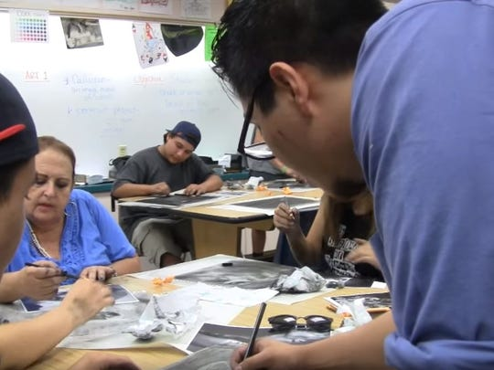 """In this shot from the short film """"Arts as a Vehicle,"""" students in alternative education are shown during an art class. The film, created by Vincent Sassone, will be screened at the 2016 American Documentary Film Festival."""