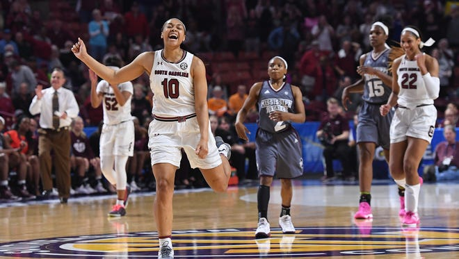 South Carolina guard Allisha Gray (10) celebrates late in the SEC women's basketball championship game at Bon Secours Wellness Arena on Sunday, March 5, 2017