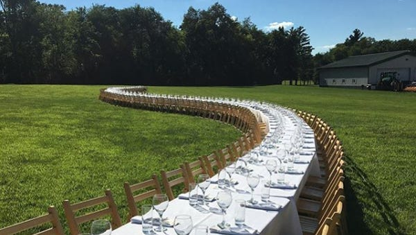 Outstanding in the Field, a national tour of farm dinners, will hold three dinners in Wisconsin , at the J. Henry & Sons farm in Dane and Waseda Farms in Baileys Harbor.