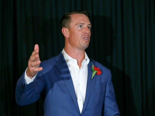 Falcons QB Matt Ryan speaks at the Rochester Press-Radio Club news conference at the Rochester Riverside Convention Center in 2017.
