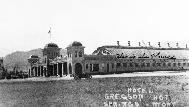 """After the first burned, a new Gregson Hot Springs hotel was built in 1927. It was the """"Saratoga of the Northwest,"""" with a dance pavilion along with the plunge and pool."""
