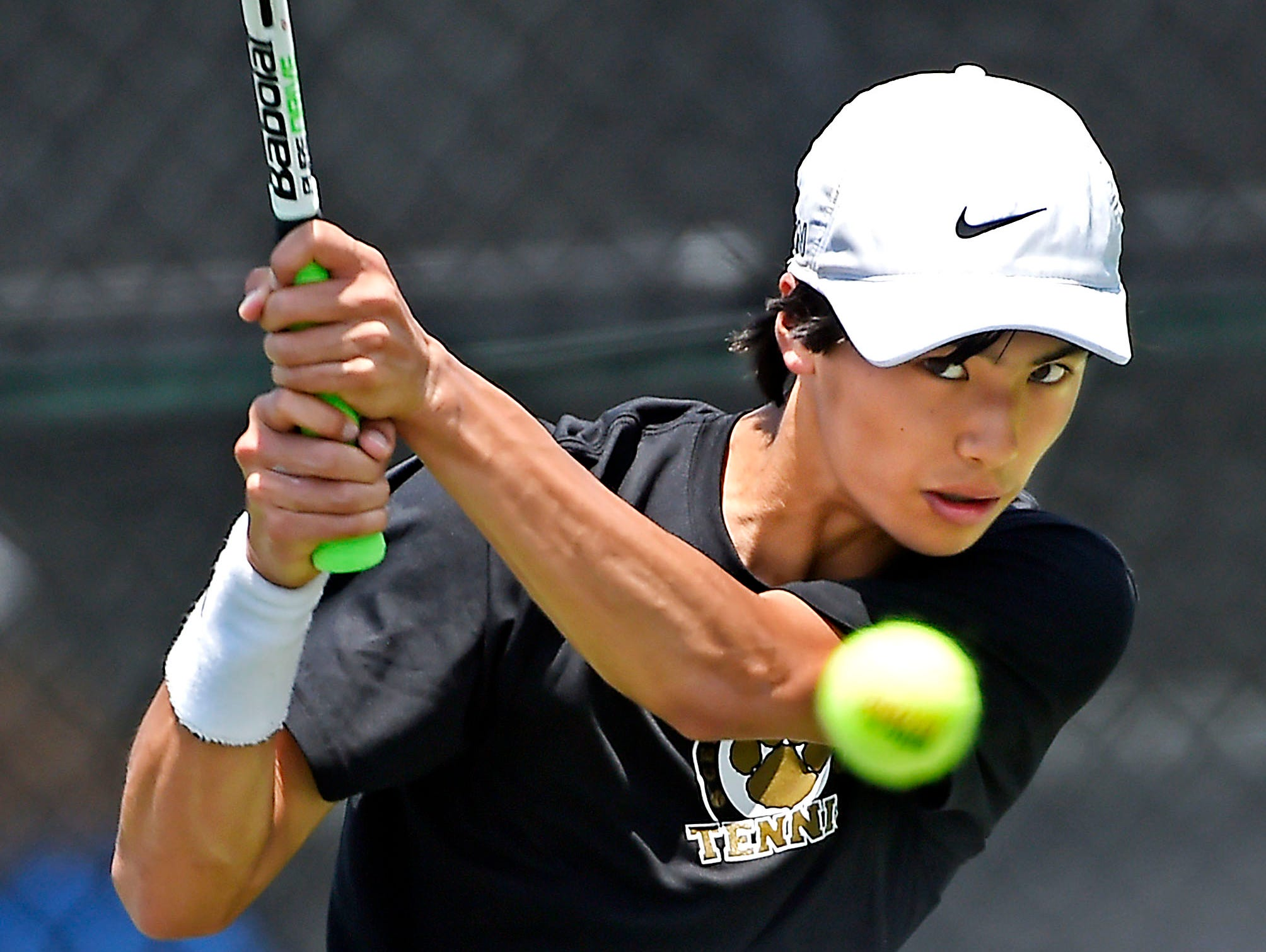 Central Magnet's Nathan Zou returns a serve by MTCS's Will Reeves in the 2016 TSSAA State tennis tournament Thursday May 26, 2016, in Murfreesboro, TN