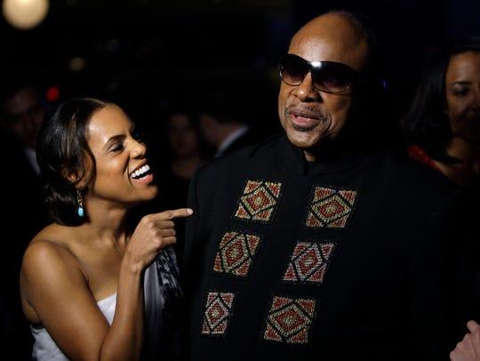 Stevie Wonder with Kai Millard Morris at an Obama inaugural